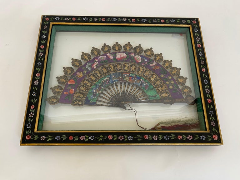 19th Century Chinese Lacquered and Giltwood Frame Fan For Sale
