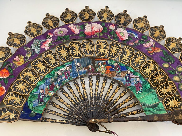 19th Century Chinese Lacquered and Giltwood Frame Fan For Sale 2