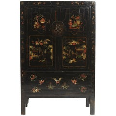 19th Century Chinese Lacquered Cabinet with Original Decorations, Shanxi