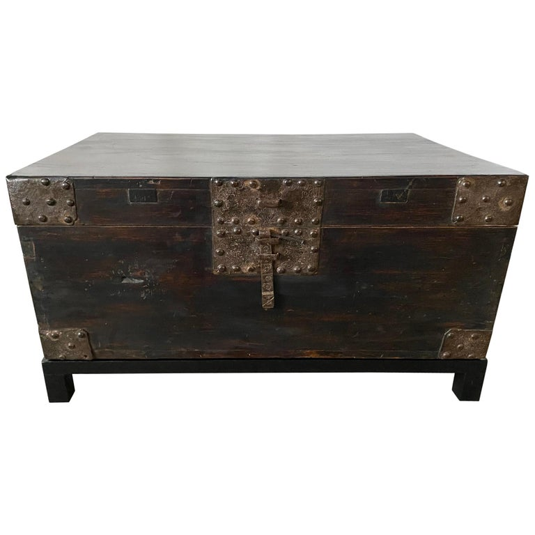 19th Century Chinese Lacquered Chest on Stand For Sale