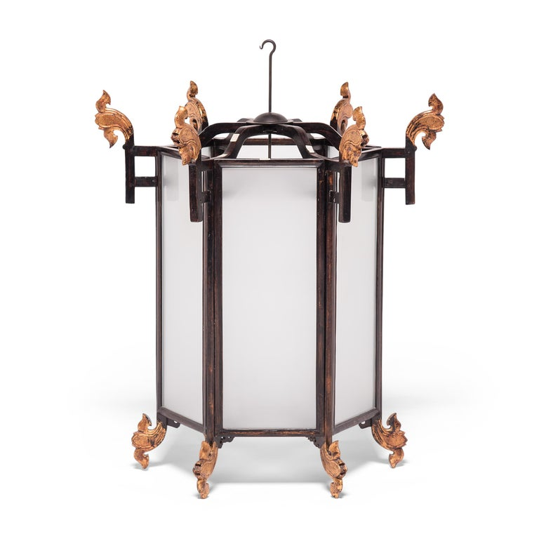 Qing 19th Century Chinese Lantern with Gilt Lotus Finials For Sale