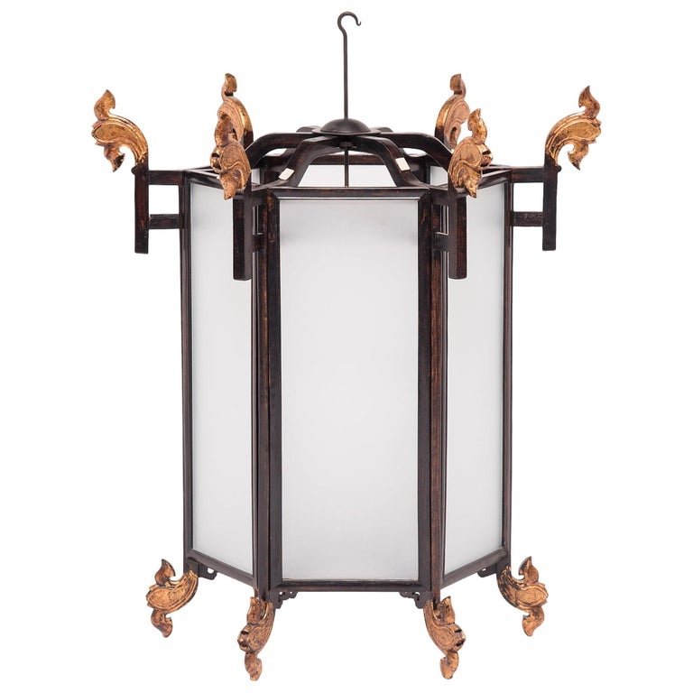 19th Century Chinese Lantern with Gilt Lotus Finials For Sale
