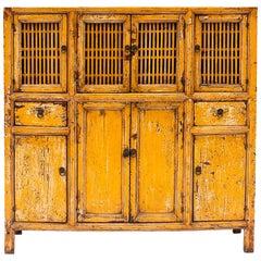 19th Century Chinese Lattice Door Cabinet