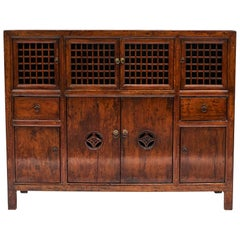 19th Century Chinese Lattice Door Cabinet with Original Lacquer