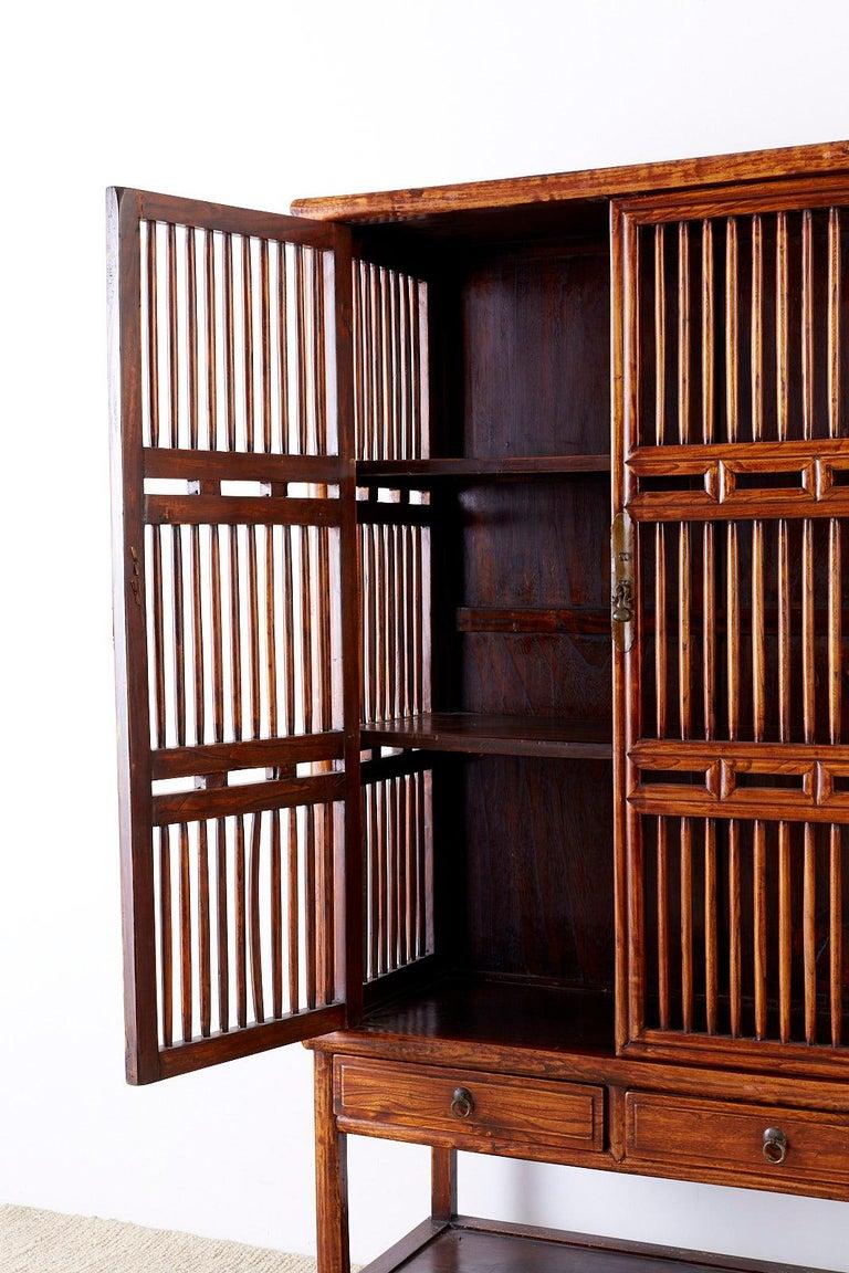 19th Century Chinese Lattice Elm Kitchen Cupboard Cabinet ...