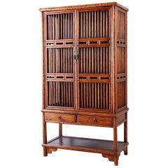 19th Century Chinese Lattice Elm Kitchen Cupboard Cabinet
