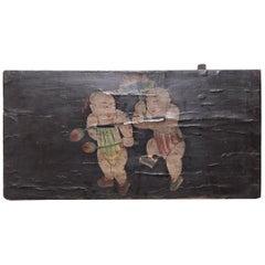 19th Century Chinese Lotus Boys Painted Panel