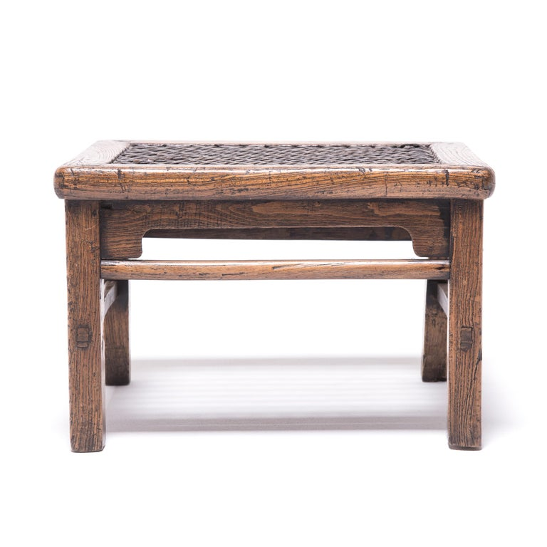 Qing 19th Century Chinese Low Stool with Woven Hide Top For Sale