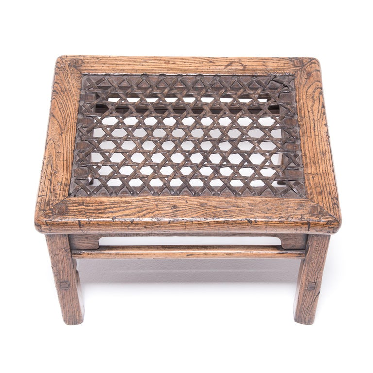 19th Century Chinese Low Stool with Woven Hide Top For Sale 1