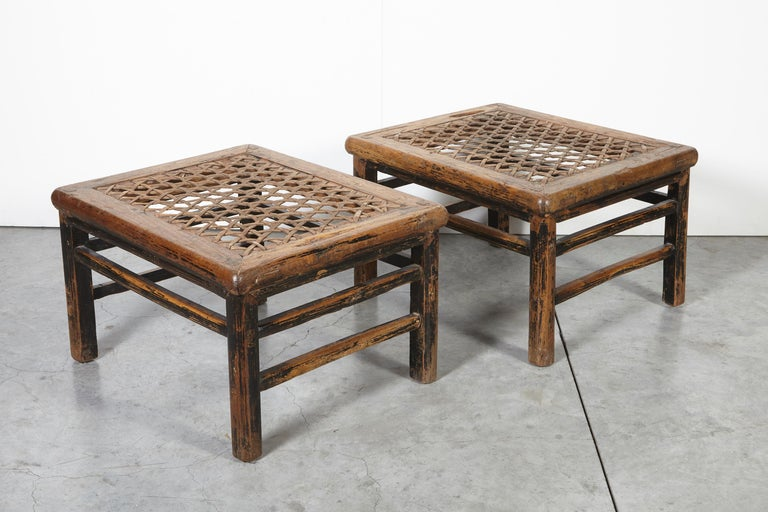 19th Century Chinese Low Tables Stools With Woven