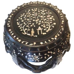 19th Century Chinese Mother of Pearl Inlaid Hardwood Garden Barrel
