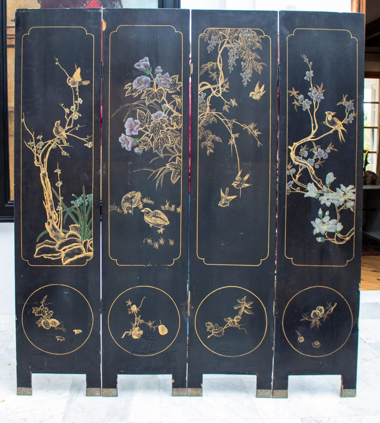 20th Century Chinese Mother of Pearl Inlay 4-Panel Folding Screen For Sale 8
