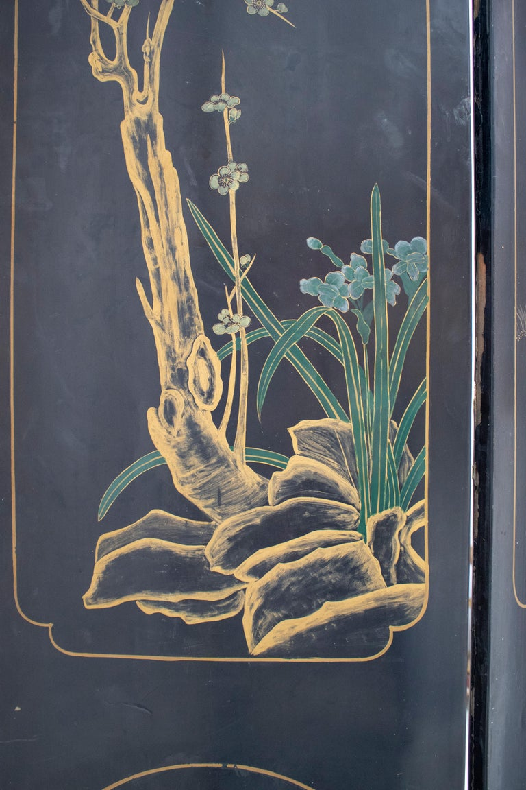 20th Century Chinese Mother of Pearl Inlay 4-Panel Folding Screen For Sale 9
