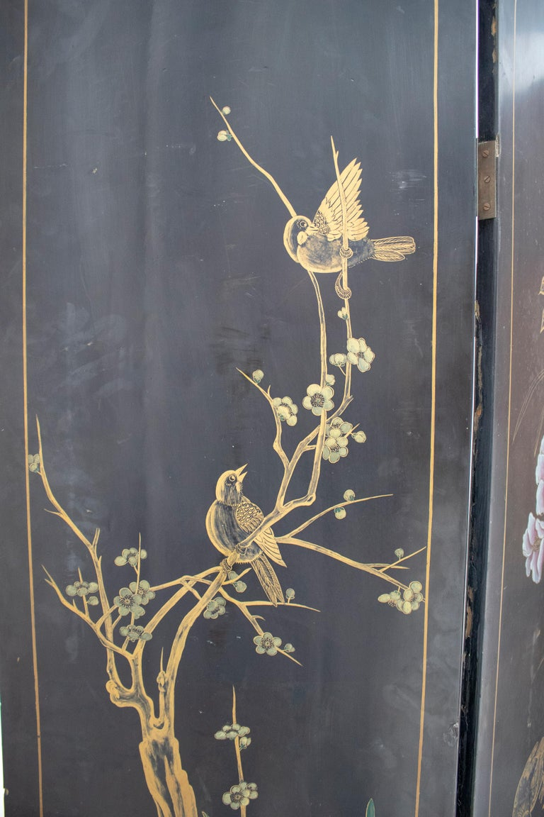 20th Century Chinese Mother of Pearl Inlay 4-Panel Folding Screen For Sale 10