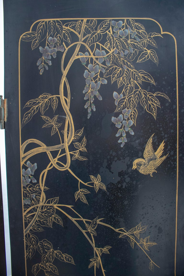 20th Century Chinese Mother of Pearl Inlay 4-Panel Folding Screen For Sale 13