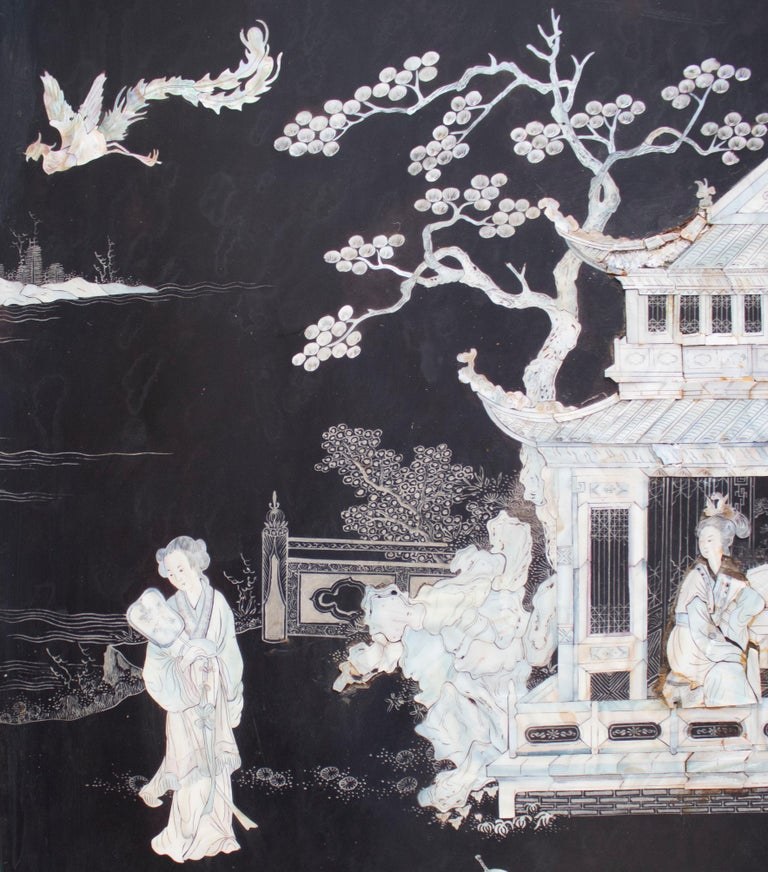 20th Century Chinese Mother of Pearl Inlay 4-Panel Folding Screen For Sale 1