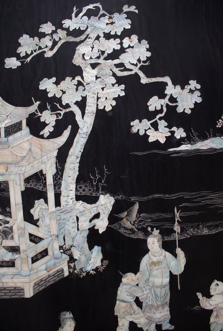 20th Century Chinese Mother of Pearl Inlay 4-Panel Folding Screen For Sale 3