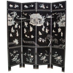 20th Century Chinese Mother of Pearl Inlay 4-Panel Folding Screen