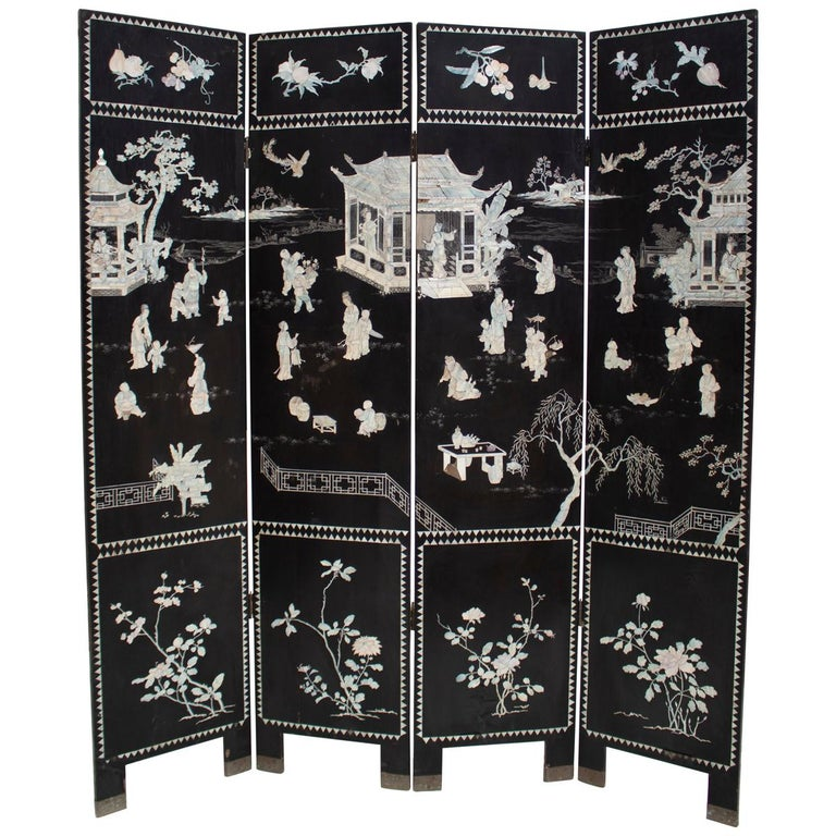 20th Century Chinese Mother of Pearl Inlay 4-Panel Folding Screen For Sale