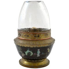 19th Century Chinese Mother of Pearl Inlay Lac Burgaute Lacquer Bowl Opium Lamp