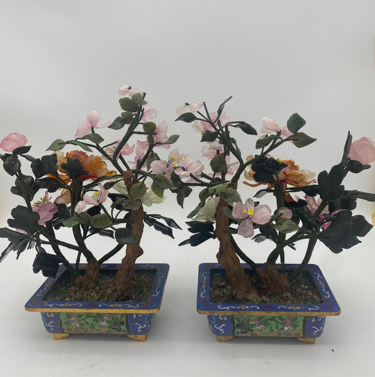 Chinese Multi-Color Bonsai Tree in Cloisonné Pot For Sale 8
