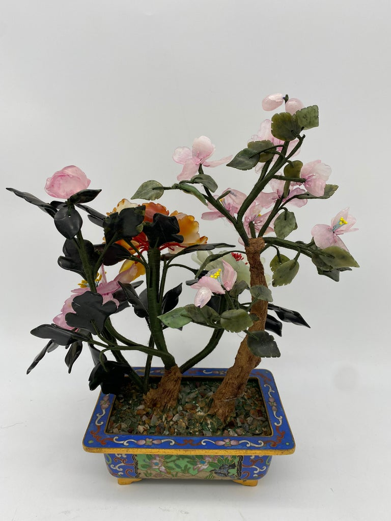 Chinese Multi-Color Bonsai Tree in Cloisonné Pot For Sale 9