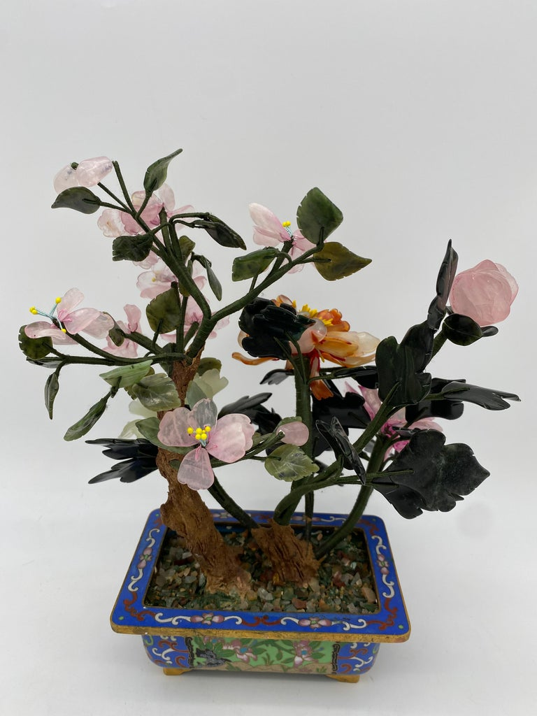 Chinese Multi-Color Bonsai Tree in Cloisonné Pot For Sale 11