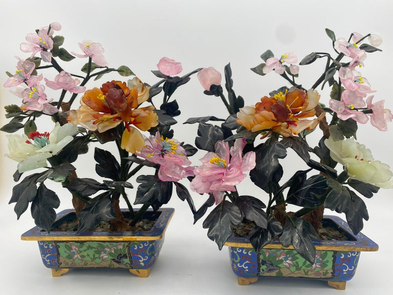 Antique Chinese multi-color Bonsai tree in cloisonné pot, very beautiful and excellent agate flowers and jade leaves tree with gilt cloisonné pot, see more pictures, measures: 12