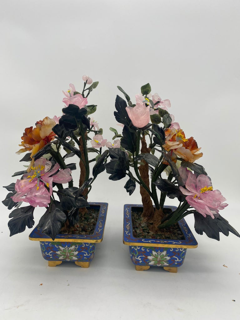 Carved  Chinese Multi-Color Bonsai Tree in Cloisonné Pot For Sale