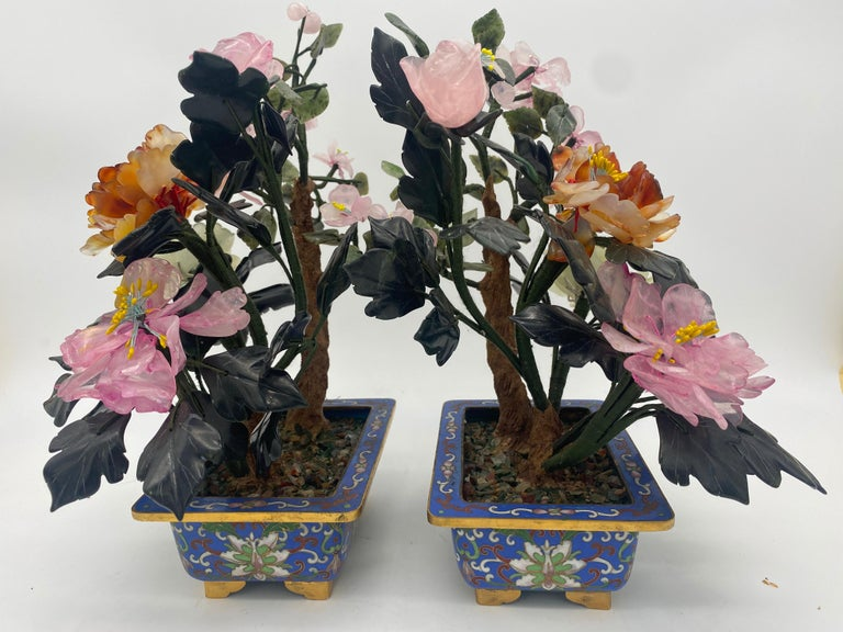 Chinese Multi-Color Bonsai Tree in Cloisonné Pot In Good Condition For Sale In Brea, CA