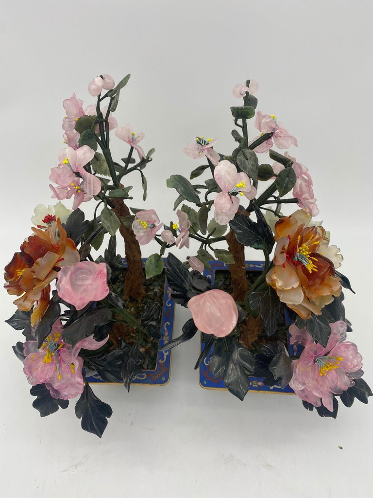 20th Century  Chinese Multi-Color Bonsai Tree in Cloisonné Pot For Sale