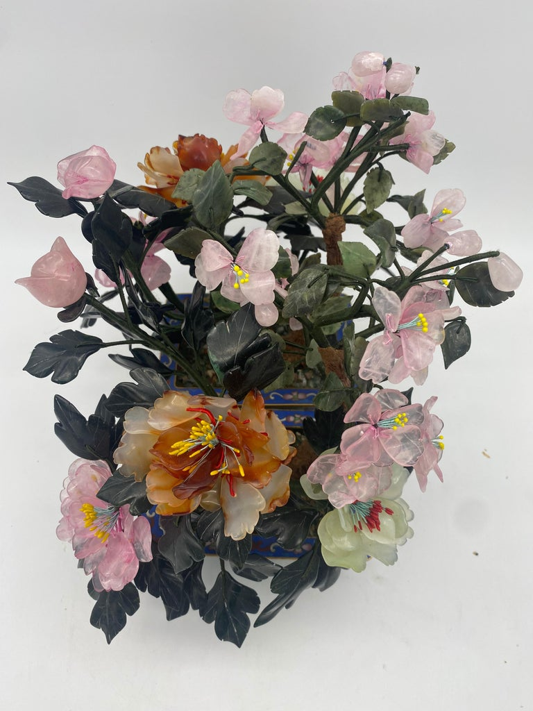 Chinese Multi-Color Bonsai Tree in Cloisonné Pot For Sale 1