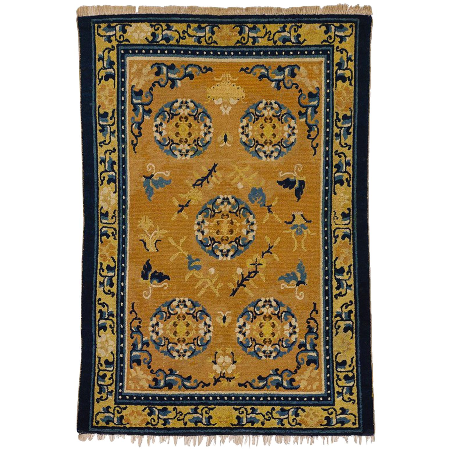 19th Century Chinese Ninxia Ocher Yellow Rug Fine Hand Knotted, Cotton and Wool