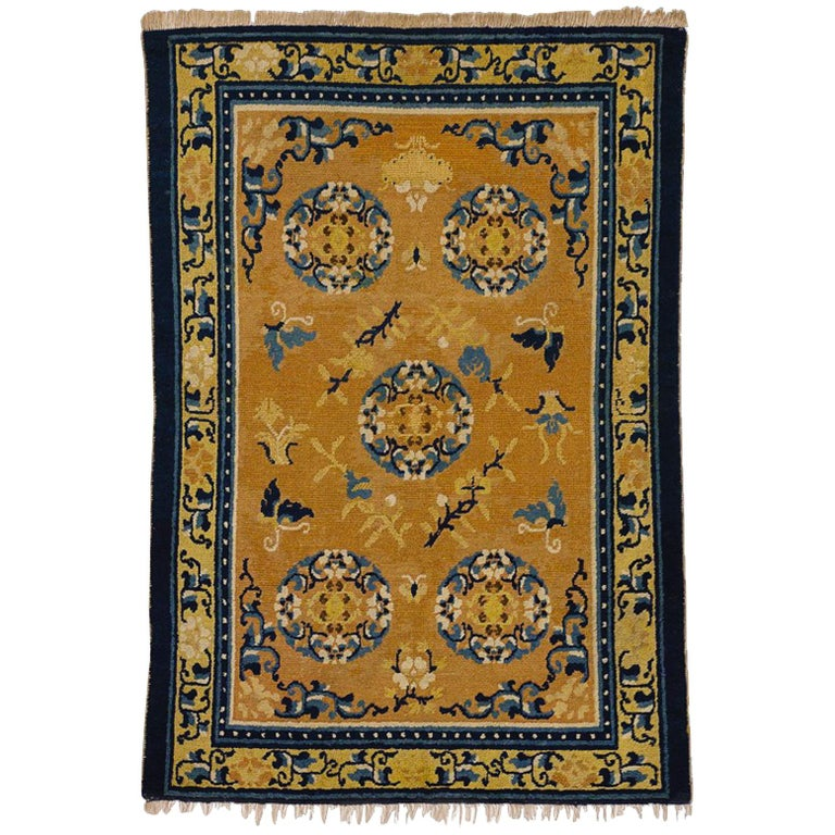 19th Century Chinese Ninxia Ocher Yellow Rug Fine Hand Knotted