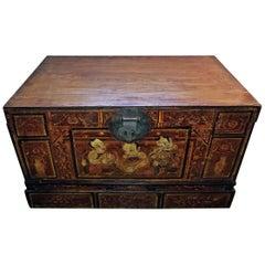 19th Century Chinese or Tibetan Monks Travel Chest
