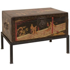 19th Century Chinese Painted Leather Trunk Made Unique Table with Custom Base