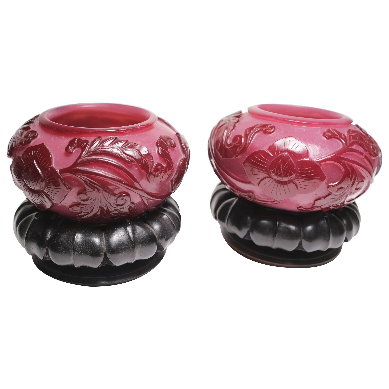 19th Century Chinese Peking Petite Glass Urns