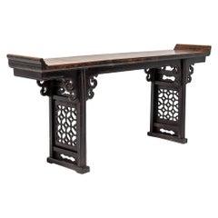 19th Century Chinese Plum Lattice Altar Table