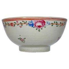 19th Century Chinese Porcelain Export Bowl with Floral Decoration