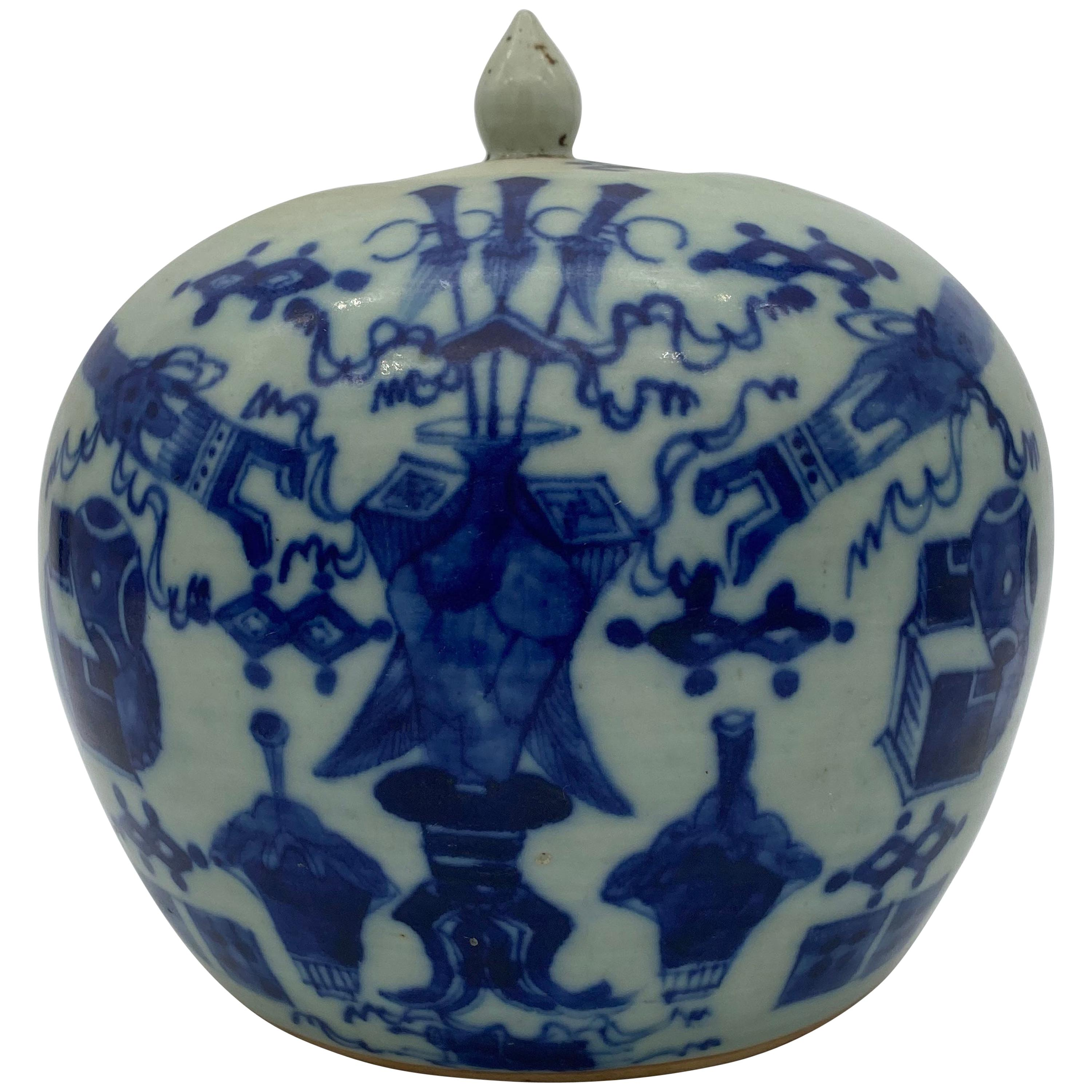 19th Century Chinese Porcelain Ground Floral Melon Jar