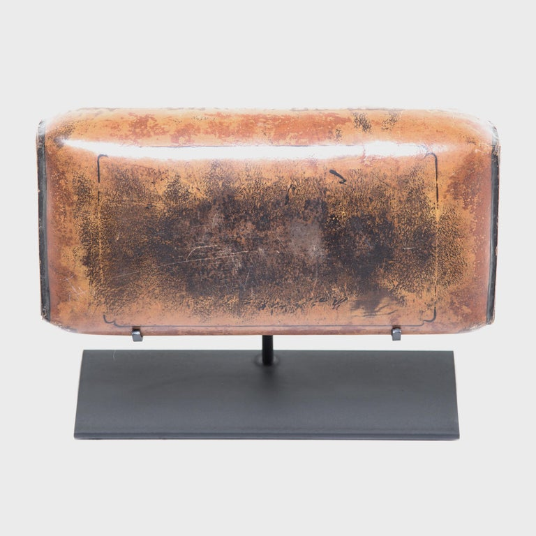 Steel 19th Century Chinese Pressed Lacquered Headrest For Sale