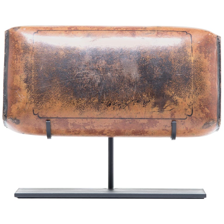 19th Century Chinese Pressed Lacquered Headrest For Sale