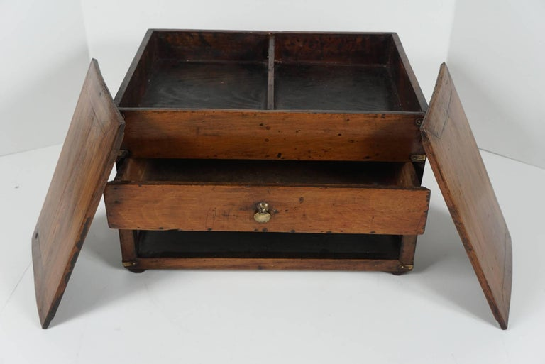 19th Century Chinese Provincial Metal Bound Wood Writing Box on Stand For Sale 3