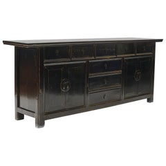 19th Century Chinese Qing Dynasty Elm Black Lacquer Sideboard