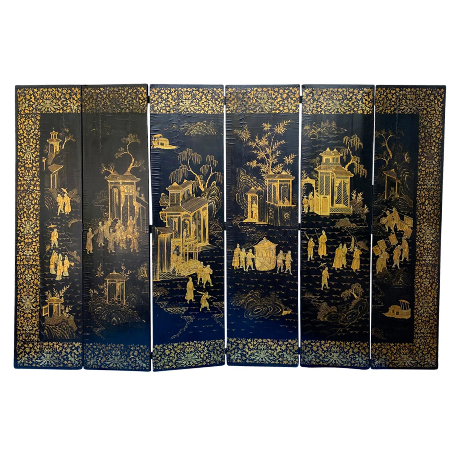 19th Century Chinese Qing Dynasty Gilt Lacquered Six Panel Screen