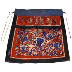 19th Century Chinese Qing Dynasty Silk Embroidery Altar Banner