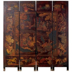 Early 20th Century Chinese Qing Four-Panel Coromandel Screen