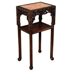 19th Century Chinese Rectangular Marble-Top Hardwood Stand