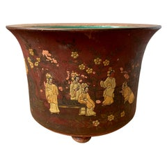 19th Century Chinese Red and Gilt Terracotta Cachepot with Green Interior