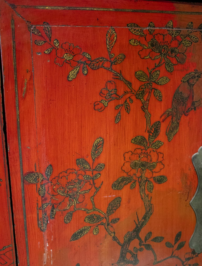 Wood 19th Century Chinese Red Lacquer Painted Two-Door Wedding Cabinet For Sale